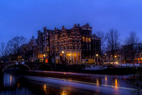 Amsterdam Corner Cafe with Light Trails