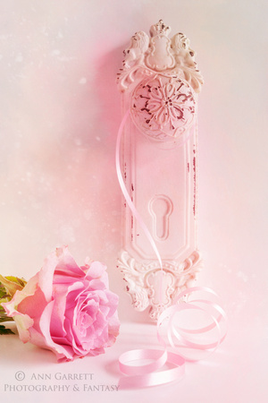 Pink Rose and Shabby Chic Door Handle