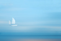 White Sails in a Blue Mist